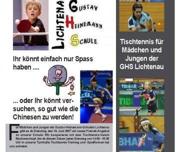 Kooperation GHS Lichtenau und TTV Muckenschopf