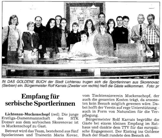 Empfang für serbische Sportlerinnen