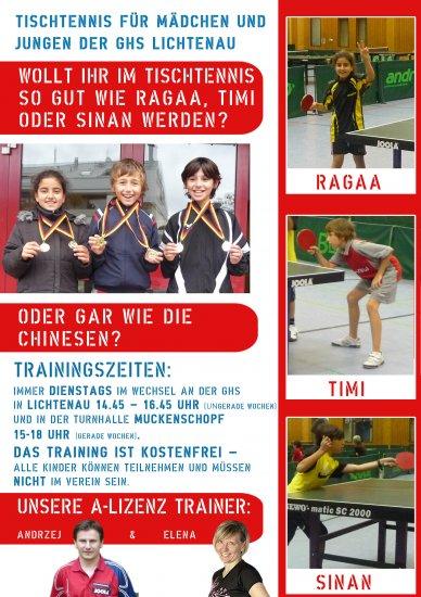 Tischtennis Demo an der GHS Lichtenau am 25.11.2009